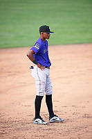 Julio Carreras (2) of the Grand Junction Rockies on defense against the Ogden Raptors at Lindquist Field on June 14, 2019 in Ogden, Utah. The Raptors defeated the Rockies 12-0. (Stephen Smith/Four Seam Images)