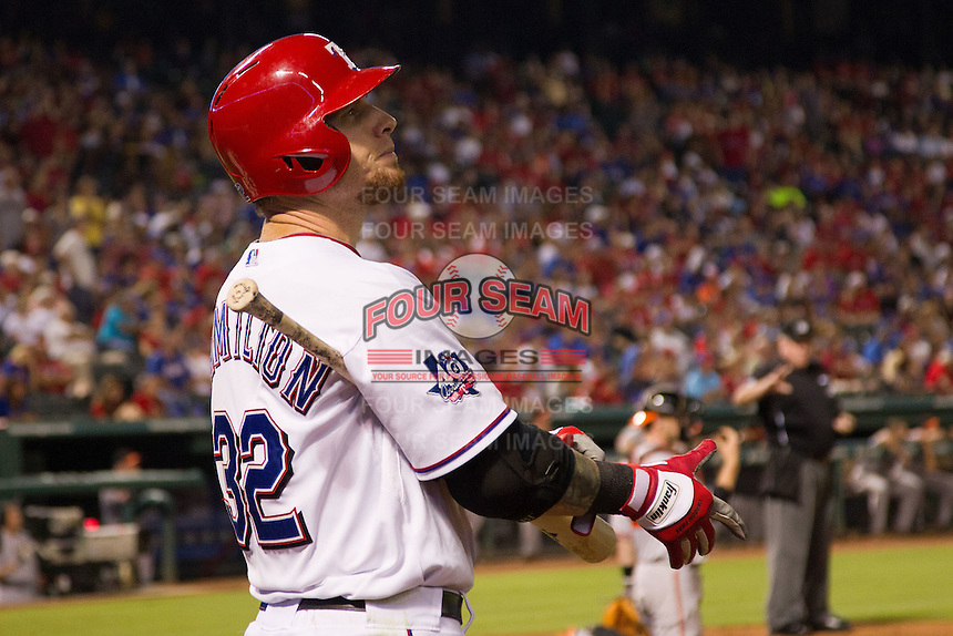Texas Rangers outfielder Josh Hamilton #32 on deck during the Major League Baseball game against the Baltimore Orioles on August 21st, 2012 at the Rangers Ballpark in Arlington, Texas. The Orioles defeated the Rangers 5-3. (Andrew Woolley/Four Seam Images).