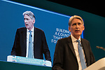 © Joel Goodman - 07973 332324 . 02/10/2017. Manchester, UK. Chancellor PHILIP HAMMOND delivers his keynote speech , during the second day of the Conservative Party Conference at the Manchester Central Convention Centre . Photo credit : Joel Goodman