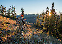 Outdoor Life Editor Andrew McKean, Mike Stock, and guide Greg Kriese with Trefren Outfitters while mule deer hunting on Greyback Ridge in the Hoeback Drainage of Wyoming Region H, outside of Alpine, Wyoming, September 21, 2015.<br /> <br /> Photo by Matt Nager