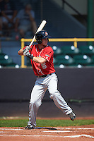 Great Lakes Loons shortstop Nick Dean (5) at bat during a game against the Clinton LumberKings on August 16, 2015 at Ashford University Field in Clinton, Iowa.  Great Lakes defeated Clinton 3-2 in ten innings.  (Mike Janes/Four Seam Images)