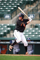 GCL Orioles first baseman Seamus Curran (10) at bat during the first game of a doubleheader against the GCL Rays on August 1, 2015 at the Ed Smith Stadium in Sarasota, Florida.  GCL Orioles defeated the GCL Rays 2-0.  (Mike Janes/Four Seam Images)