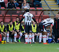 Grimsby Town's Dominic Vose protests to referee, Lee Swabey during the Sky Bet League 2 match between Leyton Orient and Grimsby Town at the Matchroom Stadium, London, England on 11 March 2017. Photo by Carlton Myrie / PRiME Media Images.