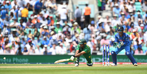 June 18th 2017, The Kia Oval, London, England;  ICC Champions Trophy Cricket Final; India versus Pakistan; Fakhar Zaman of Pakistan sweeps the ball for 4 to reach his century