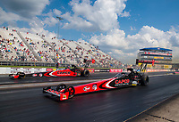 Jul 18, 2020; Clermont, Indiana, USA; NHRA top fuel driver Steve Torrence (far) alongside father Billy Torrence during qualifying for the Summernationals at Lucas Oil Raceway. Mandatory Credit: Mark J. Rebilas-USA TODAY Sports