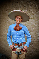 Guadalajara, Mexico. A proud young cowboy at the Charreada Rodeo   <br />