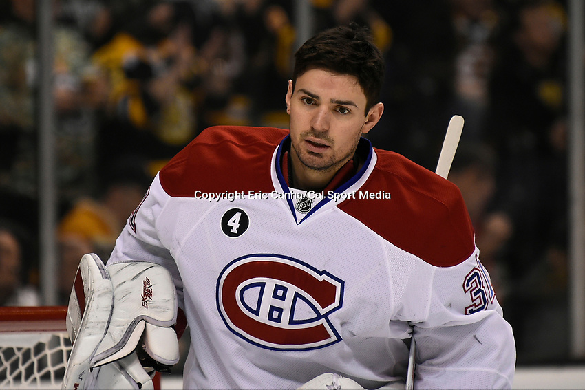 February 8, 2015 - Boston, Massachusetts, U.S. -  Montreal Canadiens goalie Carey Price (31) gets ready for the NHL game between the Montreal Canadiens and the Boston Bruins held at TD Garden in Boston Massachusetts. The Canadiens defeated the Bruins 3-1 in regulation time. Eric Canha/CSM