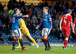 Andy Halliday scores for Rangers and celebrates with Barrie McKay