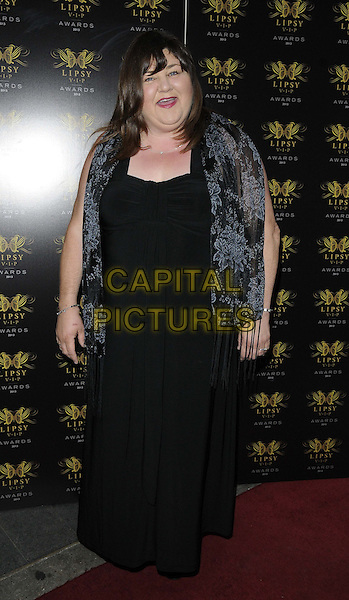 Cheryl Fergison<br /> The Lipsy VIP Fashion Awards 2013, DSTRKT, Rupert St., London, England.<br /> May 29th, 2013<br /> full length black dress sheer wrap mouth open<br /> CAP/CAN<br /> &copy;Can Nguyen/Capital Pictures