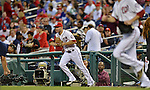 20 September 2012: Washington Nationals infielder Danny Espinosa takes to the field to start a game against the Los Angeles Dodgers at Nationals Park in Washington, DC. The Nationals defeated the Dodgers 4-1, clinching a playoff birth: the first time for a Washington franchise since 1933. Mandatory Credit: Ed Wolfstein Photo