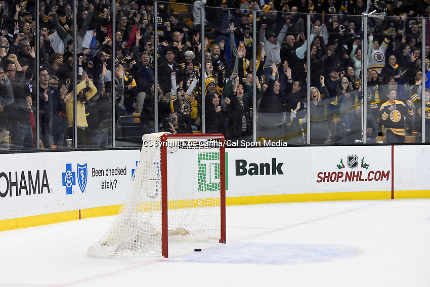 Saturday, November 21, 2015: Boston fans react as a shot by Boston Bruins left wing Brad Marchand (63) sits in Toronto's empty net late in the third period of the National Hockey League game between the Toronto Maple Leafs and the Boston Bruins held at TD Garden, in Boston, Massachusetts. The Bruins defeat the Maple Leafs 2-0 in regulation time. Eric Canha/CSM
