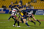 Simon Lemalu & Romi Ropati wrap up Glen Horton. Air New Zealand Cup rugby game played at Mt Smart Stadium, Auckland, between Counties Manukau Steelers & Otago on Thursday August 21st 2008..Otago won 22 - 8 after leading 12 - 8 at halftime.