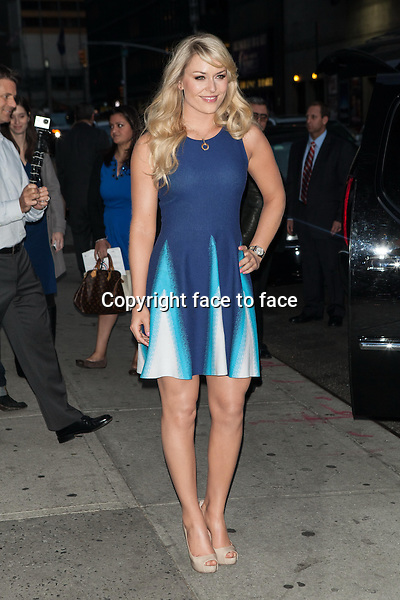 NEW YORK, NY - OCTOBER 28, 2013: Lindsey Vonn visits the Late Show With David Letterman on October 28, 2013 in New York City. <br />