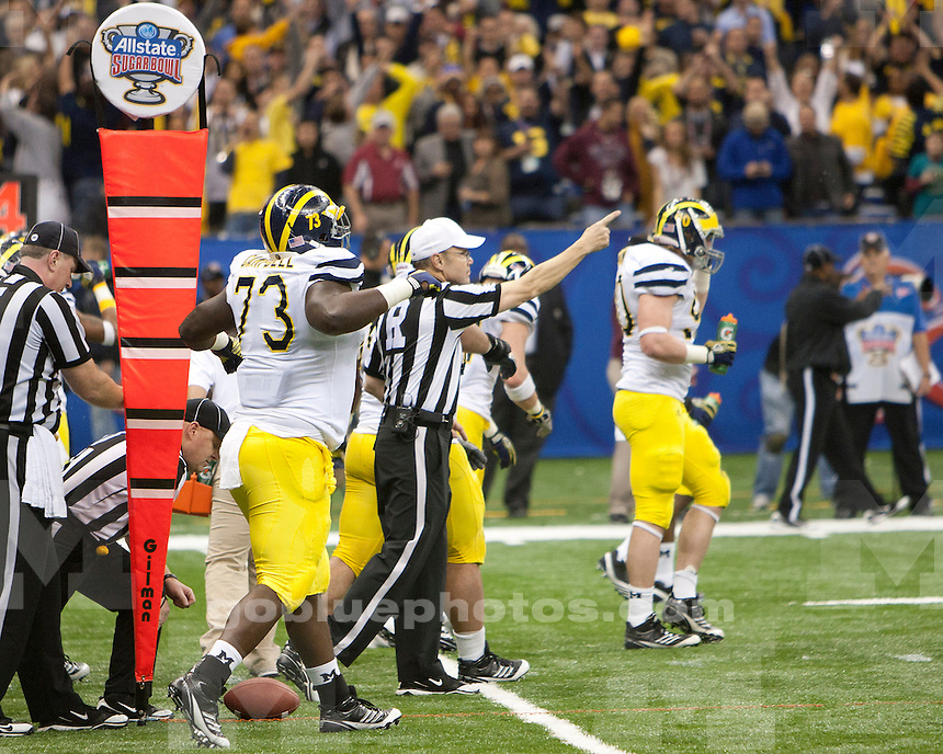 The University of Michigan football team beat Virginia Tech 23-20 in overtime to win the Sugar Bowl at the Mercedes-Benz Superdome in New Orleans, La., on January 3, 2012.<br /> (&copy; 2012 University of Michigan Photo Services; Officially Licensed XOS Digital)