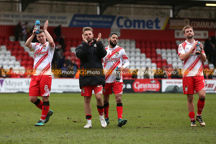 Stevenage players celebrate victory during Stevenage vs Notts County, Sky Bet EFL League 2 Football at the Lamex Stadium on 4th March 2017