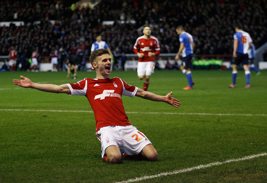 Nottingham Forest's Jamie Paterson celebrates scoring his sides third goal <br /> <br /> Photo by Jack Phillips/CameraSport<br /> <br /> Football - The Football League Sky Bet Championship - Nottingham Forest v Blackburn Rovers - Saturday 18th January 2014 - The City Ground - Nottingham<br /> <br /> &copy; CameraSport - 43 Linden Ave. Countesthorpe. Leicester. England. LE8 5PG - Tel: +44 (0) 116 277 4147 - admin@camerasport.com - www.camerasport.com