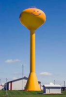 Giant Smiley Face water tower in Adair, Iowa.