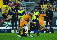 Jaguares' Emiliano Boffelli is tackled during the Super Rugby match between the Hurricanes and Jaguares at Westpac Stadium in Wellington, New Zealand on Friday, 17 May 2019. Photo: Dave Lintott / lintottphoto.co.nz
