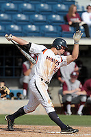 Aaron Brown #20 of the Pepperdine Waves bats against the Texas A&M Aggies at Eddy D. Field Stadium on March 23, 2012 in Malibu,California. Texas A&M defeated Pepperdine 4-0.(Larry Goren/Four Seam Images)