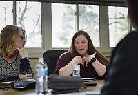"""Nicole Stewart of Bentonville (second from left) shares a personal story, Monday, February 10, 2020 at the Compton Gardens & Conference Center in Bentonville. Check out nwaonline.com/200211Daily/ for today's photo gallery.<br /> (NWA Democrat-Gazette/Charlie Kaijo)<br /> <br /> Life coach Marcie Bayles held her monthly workshop called """"Why is Joy Elusive? Or is it?"""".  Students of the workshop learn how to enjoy life, solve their own problems and reach their goals through self-coaching personal circumstances and feelings. The workshops are every second Monday of the month at 12:30 pm at the Compton Gardens & Conference Center.<br /> <br /> Bayles's workshop seeks to relieve suffering, prevent mental and emotional crisis and strengthen the mental health of the community."""
