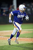 Tim Mansfield (3) of the High Point Panthers hustles down the first base line against the NJIT Highlanders during game two of a double-header at Williard Stadium on February 18, 2017 in High Point, North Carolina.  The Highlanders defeated the Panthers 4-2.  (Brian Westerholt/Four Seam Images)