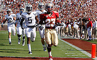 TALLAHASSEE, FL 9/18/10-FSU-BYU FB10 CH-Florida State's Chris Thompson cross the goal line at the end of an 83-yard touchdown run against Brigham Young during first half action Saturday at Doak Campbell Stadium in Tallahassee. .COLIN HACKLEY PHOTO