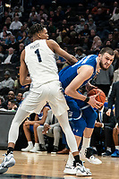 WASHINGTON, DC - FEBRUARY 05: Sandro Mamukelashvili #23 of Seton Hall puts a move on Jamorko Pickett #1 of Georgetown during a game between Seton Hall and Georgetown at Capital One Arena on February 05, 2020 in Washington, DC.