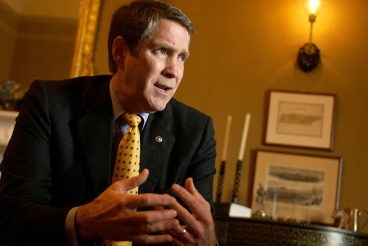 Senate Majority Leader Bill Frist, R-Tenn., is interviewed by Roll Call reporters in his U.S. Capitol office.