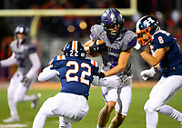 Fayetteville wide receiver Connor Flannigan (2) catches the ball and runs down the field against defensive back Eli Craig (22) Rogers Heritage at Gates Stadium, Rogers, AR on November 1, 2019 / Special to NWA Democrat Gazette David Beach