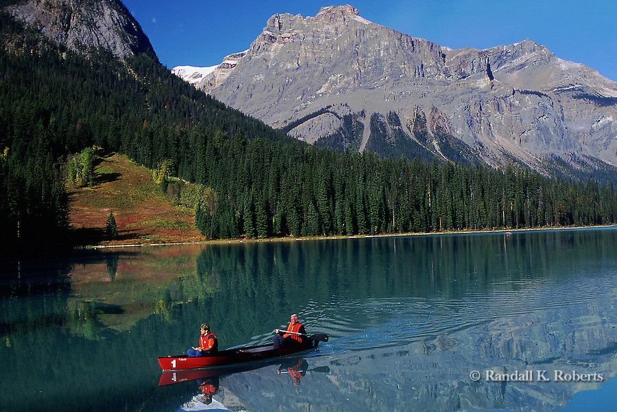 Canoeing on Emerald Lake, Yoho National Park, BC, Canada