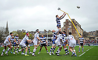 Dominic Day rises high to win lineout ball. Amlin Challenge Cup quarter-final, between Bath Rugby and CA Brive on April 6, 2014 at the Recreation Ground in Bath, England. Photo by: Patrick Khachfe / Onside Images