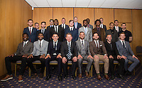 The Wycombe squad including Presenter Bill Turnbull  during the Wycombe Wanderers End of Season 2016 Awards Dinner at Adams Park, High Wycombe, England on 1 May 2016. Photo by Andy Rowland.