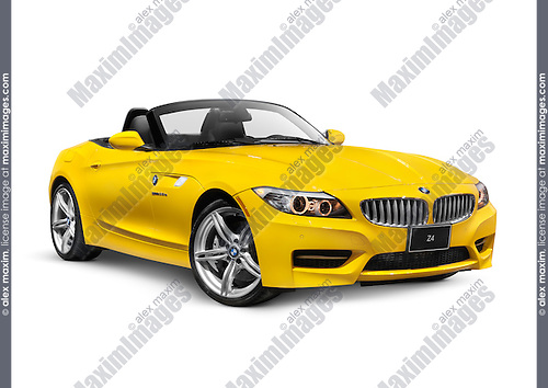 Yellow 2011 BMW Z4 sDrive35i Roadster isolated car on white background with clipping path