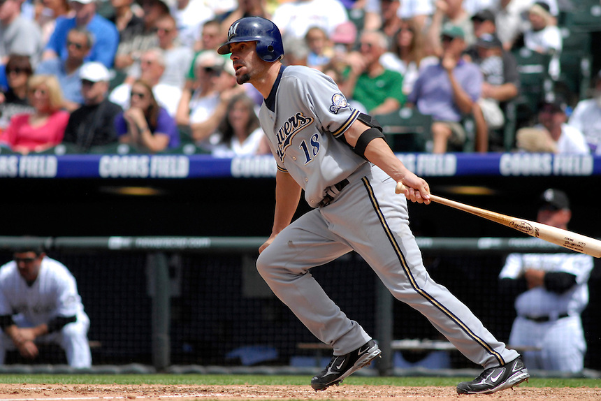 08 June 08: Milwuakee Brewers catcher Jason Kendall at bat against the Colorado Rockies. The Brewers defeated the Rockies 3-2 at Coors Field in Denver, Colorado. For EDITORIAL use only