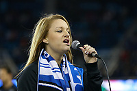 San Jose, CA - Friday April 14, 2017: National anthem  during a Major League Soccer (MLS) match between the San Jose Earthquakes and FC Dallas at Avaya Stadium.