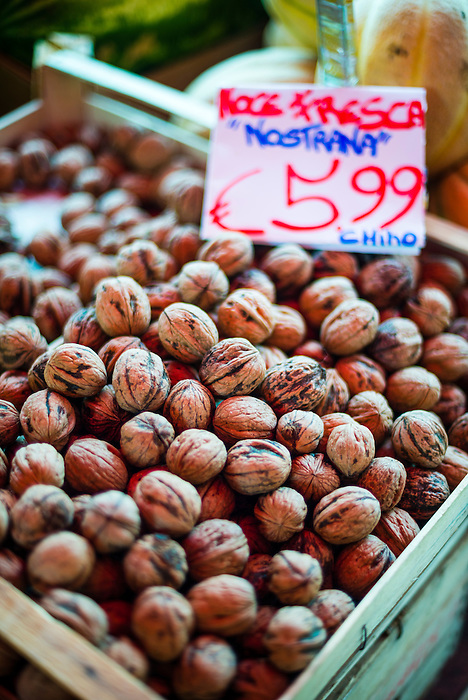 Palermo, walnuts for sale at Capo Market, a fruit, vegetable and general food market in Palermo, Sicily, Italy, Europe. This is a photo of walnuts for sale at Capo Market, a fruit, vegetable and general food market in Palermo, Sicily, Italy, Europe.