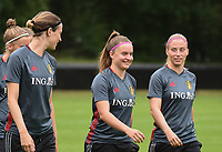 20170722 - RIJEN , NETHERLANDS : Davinia Vanmechelen (M) with Imke Courtois (L) and Yana Coryn (R)   pictured during the training on the pitch of VV Rijen , The Netherlands PHOTO SPORTPIX.BE | DIRK VUYLSTEKE
