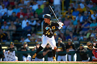 Pittsburgh Pirates shortstop Cole Figueroa (24) at bat during a Spring Training game against the Boston Red Sox on March 9, 2016 at McKechnie Field in Bradenton, Florida.  Boston defeated Pittsburgh 6-2.  (Mike Janes/Four Seam Images)