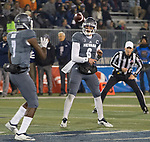 Nevada quarterback Ty Gangi (6) throws to Romeo Doubs (7) against Colorado State in the first half of an NCAA college football game in Reno, Nev., Saturday, Oct. 27, 2018. (AP Photo/Tom R. Smedes)