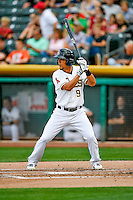 Rafael Ortega (9) of the Salt Lake Bees at bat against the Round Rock Express in Pacific Coast League action at Smith's Ballpark on August 15, 2016 in Salt Lake City, Utah. Round Rock defeated Salt Lake 5-4.  (Stephen Smith/Four Seam Images)
