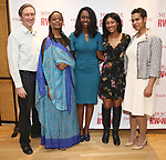 """George Drance, Malaika Uwamahoro, Immaculee ILibagiza, Nisarah Lewis and Leslie Malaika Lewis during a reception for  """"Miracle in Rwanda"""" honoring International Day of Reflection on the 1994 Genocide against the Tutsi in Rwanda at the Lion Theatre on Theater Row on April 7, 2019 in New York City."""