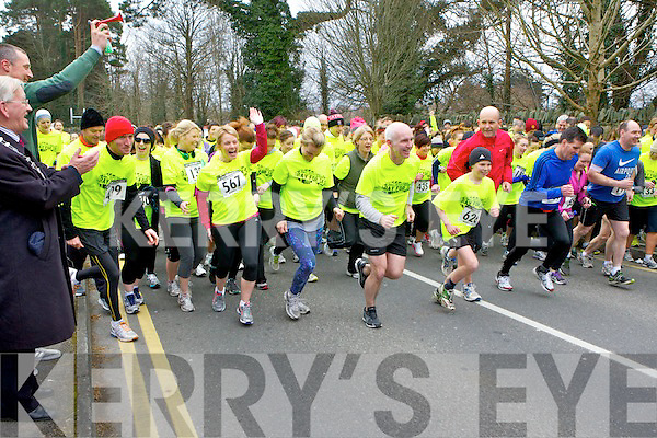 Rachel Allen and Ray Darcy take off at the start of the Ray for 5k race in Killarney on Monday