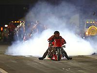 Apr 21, 2017; Baytown, TX, USA; NHRA top fuel nitro Harley Davidson motorcycle rider Mike Scott during qualifying for the Springnationals at Royal Purple Raceway. Mandatory Credit: Mark J. Rebilas-USA TODAY Sports