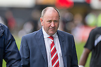 Cheltenham manager Gary Johnson (centre) walks to the dugout ahead of the Sky Bet League 2 match between Newport County and Cheltenham Town at Rodney Parade, Newport, Wales on 10 September 2016. Photo by Mark  Hawkins / PRiME Media Images.