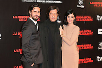 "Juan Diego Botto, Manuel Gomez Pereira and Paz Vega attends ""La Ignorancia de la Sangre"" Premiere at Capitol Cinema in Madrid, Spain. November 13, 2014. (ALTERPHOTOS/Carlos Dafonte) /NortePhoto nortephoto@gmail.com"