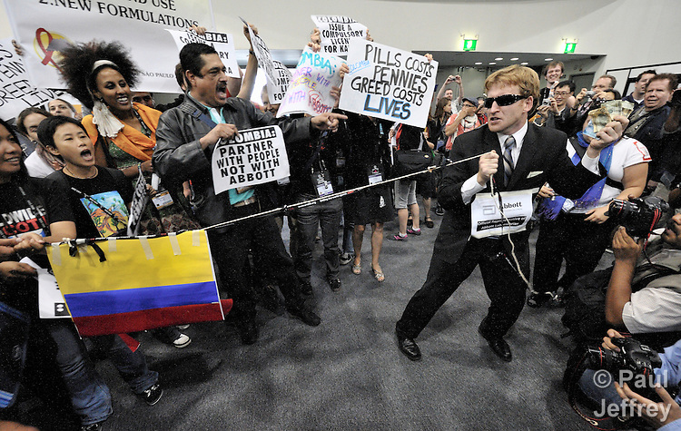 At the XVII International AIDS Conference in Mexico City, demonstrators on August 6 protested the Colombian government's failure to license a generic form of Kaletra, Abbott Laboratories' antiretroviral drug. Such a decision would allow generic--and much cheaper--versions of the drug to be made available to those who need it.