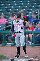 Arkansas Travelers infielder Donnie Walton (14) waits in the on-deck circle during a Texas League game between the Northwest Arkansas Naturals and the Arkansas Travelers on May 30, 2019 at Arvest Ballpark in Springdale, Arkansas. (Jason Ivester/Four Seam Images)