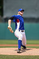 Ben Thompson (17) of Christian Academy of Louisville in Louisville, Kentucky playing for the Chicago Cubs scout team during the East Coast Pro Showcase on August 2, 2014 at NBT Bank Stadium in Syracuse, New York.  (Mike Janes/Four Seam Images)