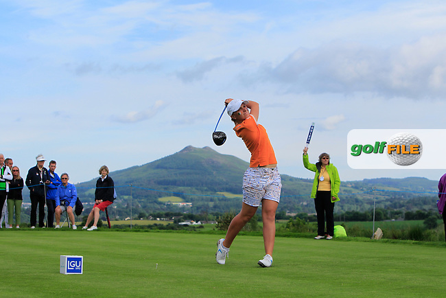 Charlotte Thomas on the 10th tee during the Saturday Afternoon Fourballs of the 2016 Curtis Cup at Dun Laoghaire Golf Club on Saturday 11th June 2016.<br /> Picture:  Golffile | Thos Caffrey