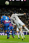 Real Madrid´s Cristiano Ronaldo and Levante UD´s David Navarro during 2014-15 La Liga match between Real Madrid and Levante UD at Santiago Bernabeu stadium in Madrid, Spain. March 15, 2015. (ALTERPHOTOS/Luis Fernandez)